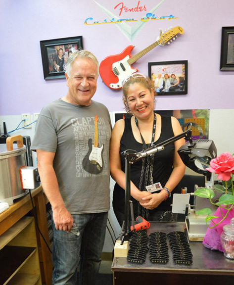 Gary Davies pictured with master pickup winder Josefina Campos at the Fender Custom Shop