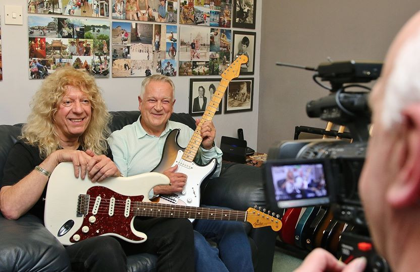 Lars Mullen Mike Berry and Gary Davies author of Anniversary Strat being interviewed for Britain's Rare Guitars