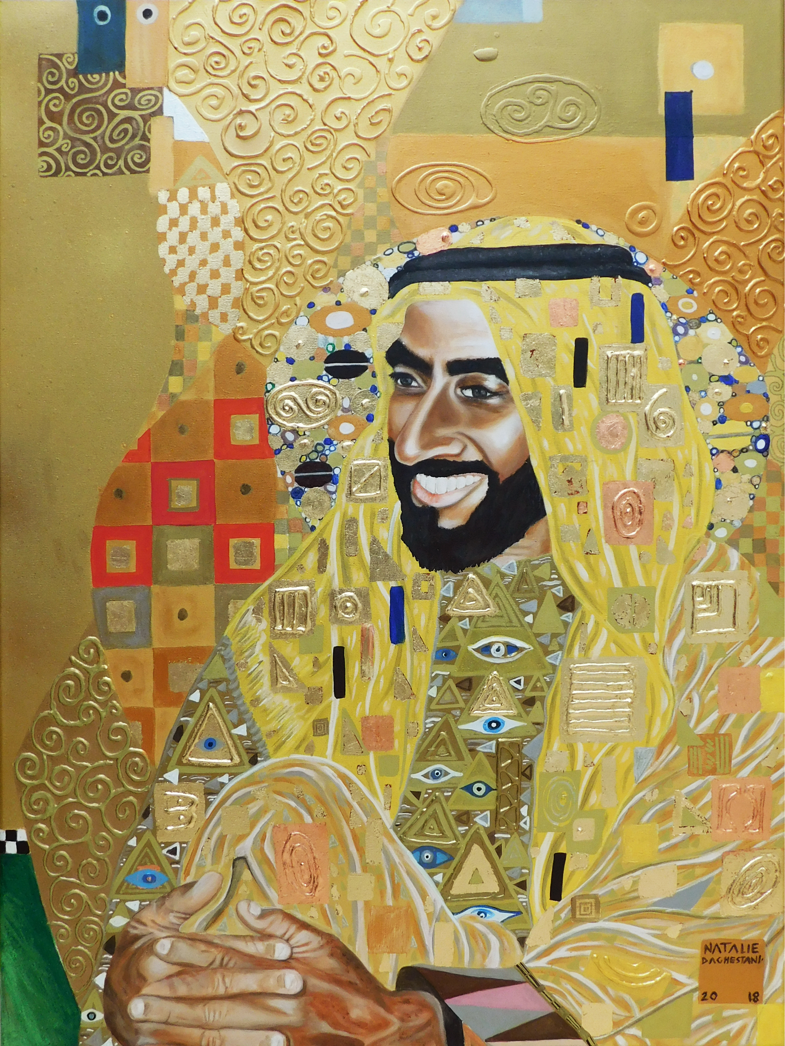 Portrait of His Highness Sheikh Zayed Natalie Daghestani Art Dubai Artist BSAB 2