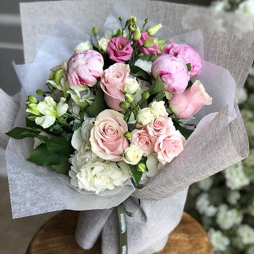 White & Pink Round Bouquet