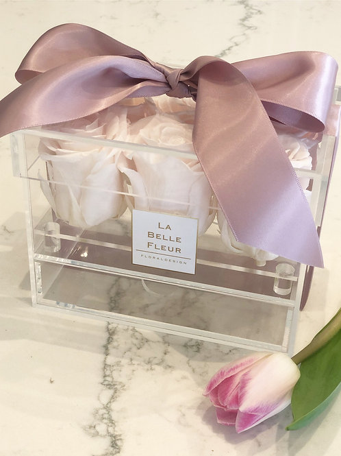 6 Roses Crystal Acrylic Box with Drawer (New Color Added)