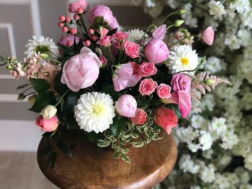Pink Peach White Vase Arrangement (Gold Vase)
