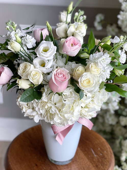 White & Blush Tall Arrangement