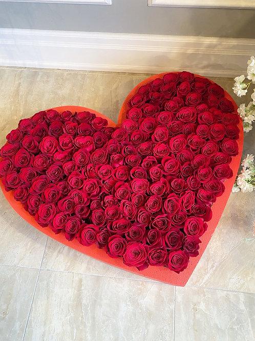 99 Rose Heart Box
