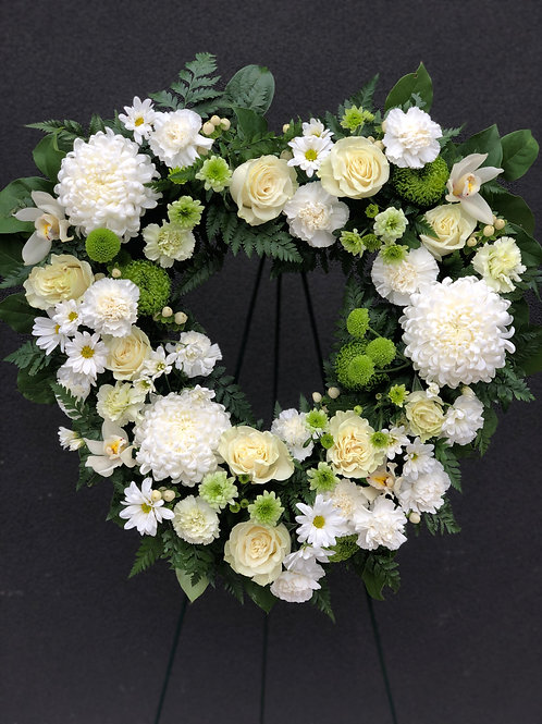 White Heart Wreath Standing Spray