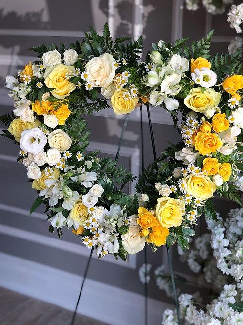 White & Yellow Heart Wreath