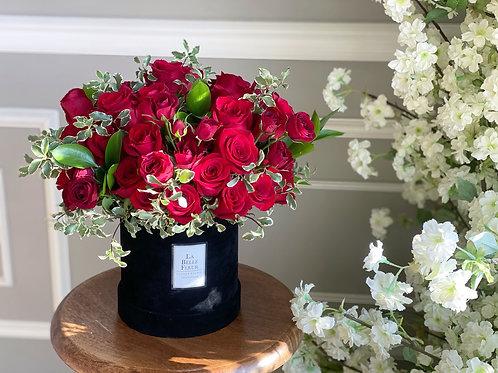 50 Roses In a Black Velvet Box