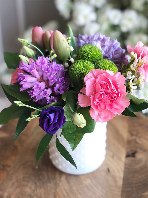 Lovely White Vase Arrangement (Low) - Color options are available