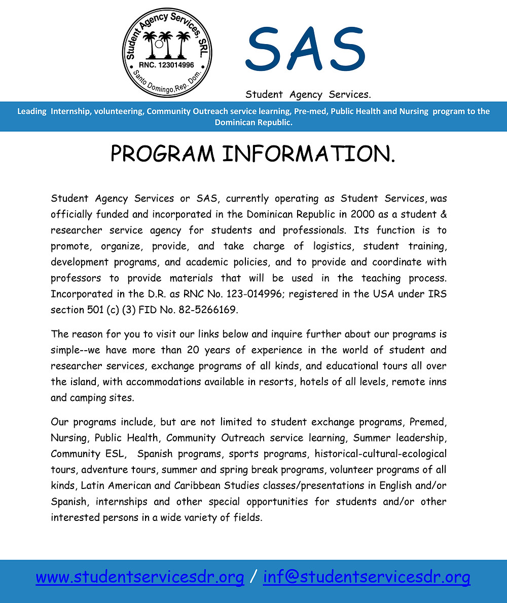 Program Information 8 days 7 nights SAS / Guanin, Inc. Program