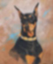 Fine art portrait painting of Doberman, head study