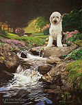 Portrait of an Old English Sheepdog in a detailed background scene