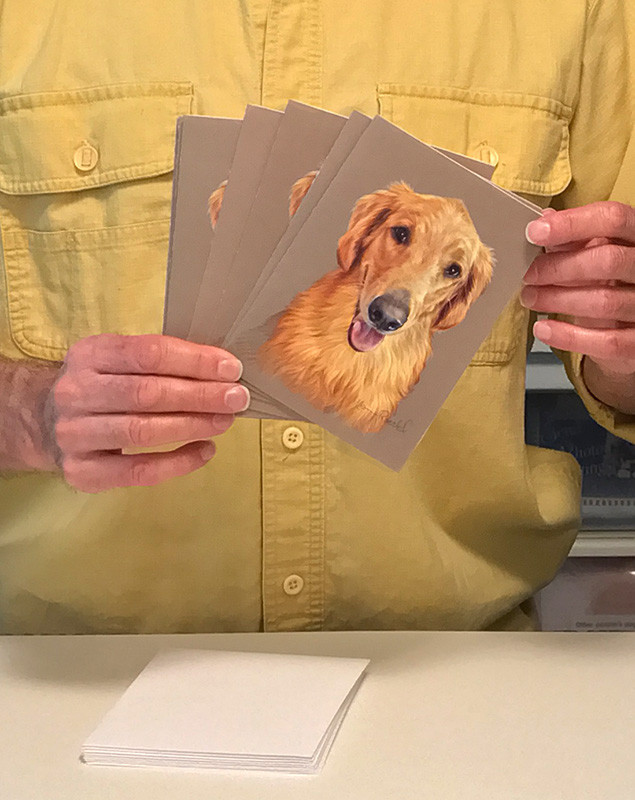 Custom portrait notecards with envelopes of a Golden Retriever Service Dog portrait by Artist Kevin Roeckl