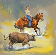 Fine Art portrait of a cutting horse and woman cutting a Brahma calf