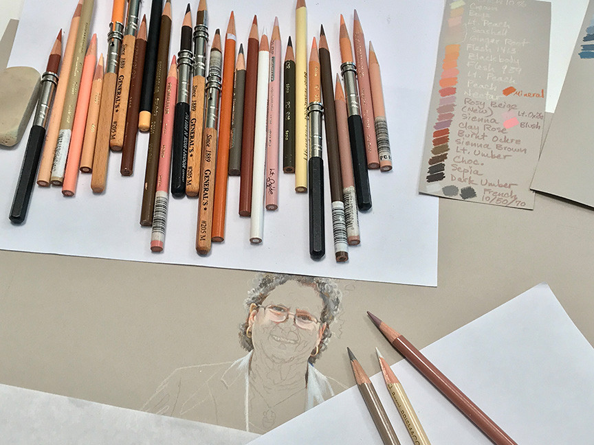 Fine art portrait in progress with Prismacolor colored pencils