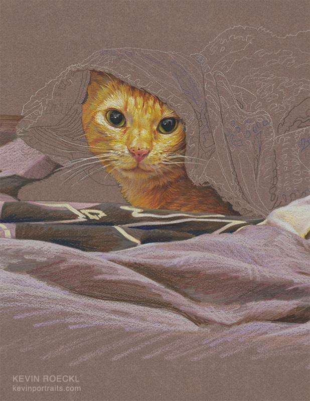 Colored pencil portrait of orange cat under a blanket, close-up detail, in progress