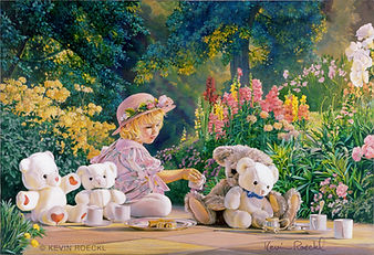 Fine Art portrait of a little girl having a tea party with her teddy bears in a garden