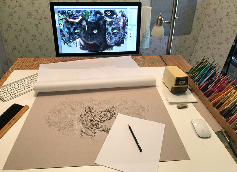 Portrait of Cat in progress in Kevin's art studio with reference photos on the monitor