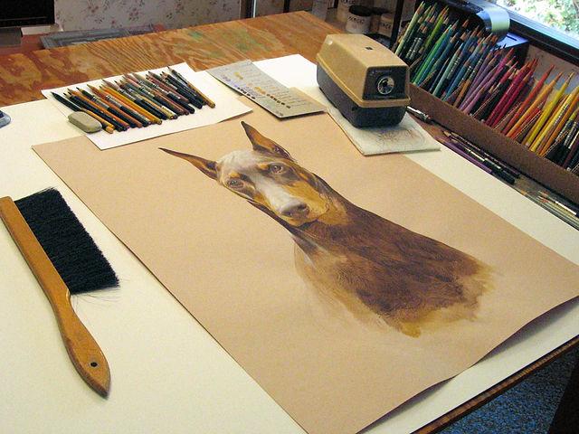Kevin Roeckl's art studio, colored pencils