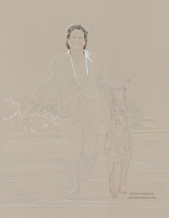 Fine art portrait of Doberman and handler, beginning sketch