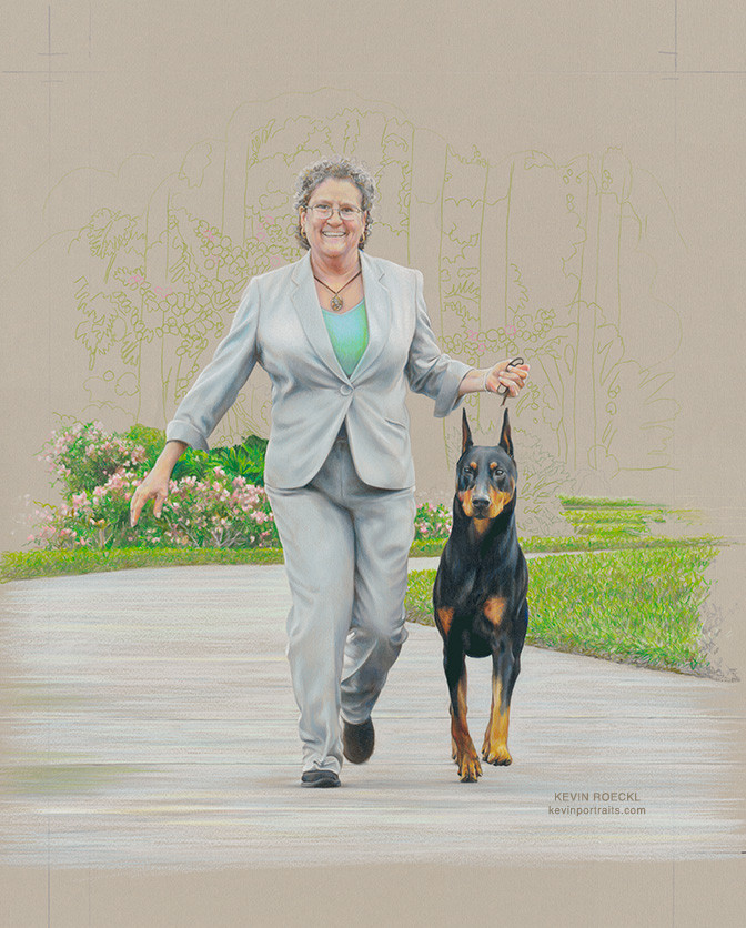 Portrait of show dog handler Gwen and Doberman Kent