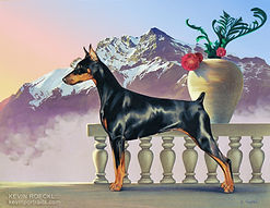Fine Art portrait of a purebred Doberman show dog with a mountain background