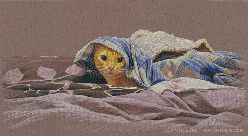 Prismacolor pencil portrait on Canson paper of an orange cat under a blanket, by artist Kevin Roeckl