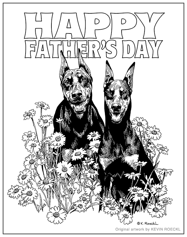 Pen and ink drawing of Dobermans in daisies, with Happy Father's Day lettering, by Kevin Roeckl