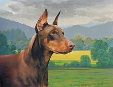 Fine Art portrait of a purebred red Doberman in a country setting