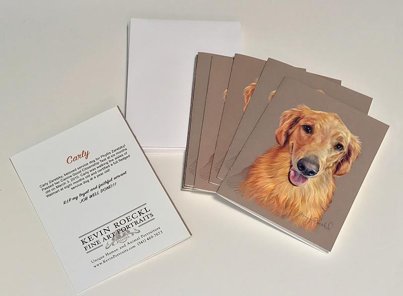 Custom notecards of colored pencil portrait of Golden Retriever dog