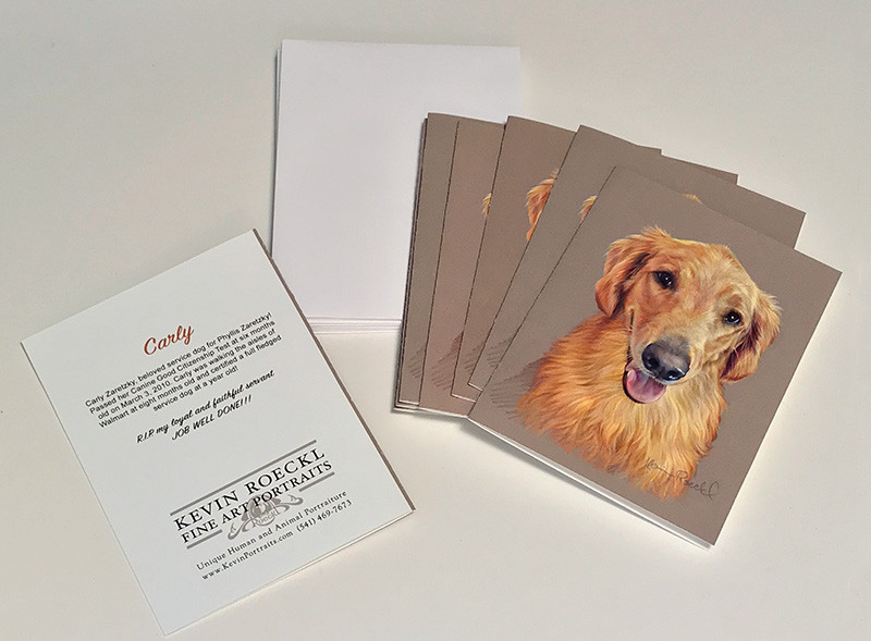 Custom notecards of a fine art portrait of Golden Retreiver Service Dog