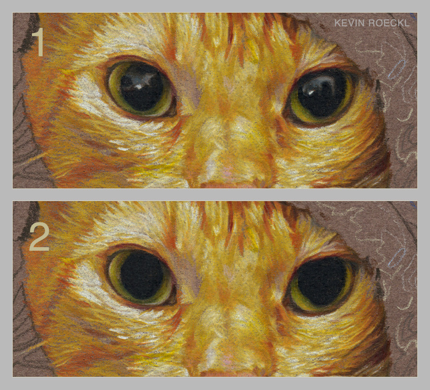 Example of shiny realistic eyes compared to flat, dull eyes, using colored pencil cat portrait as example