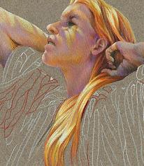 Fine art portrait drawing of a woman, Prismacolor pencil on Canson paper