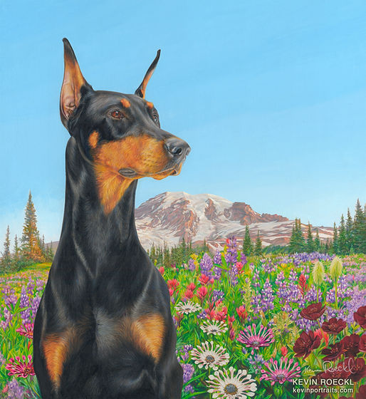 Fine art portrait of black Doberman with background scene of Mount Rainier and wildflowers