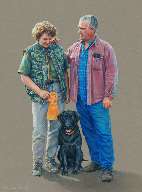 Portrait of man and woman, husband and wife and Triple Master Hunter Field Trial Champion Labrador Retriever dog
