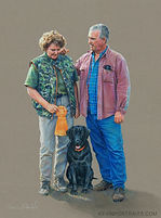Full body portrait, man, woman, and black Lab