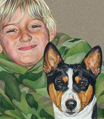 Fine art portrait of young boy and Basenji dog