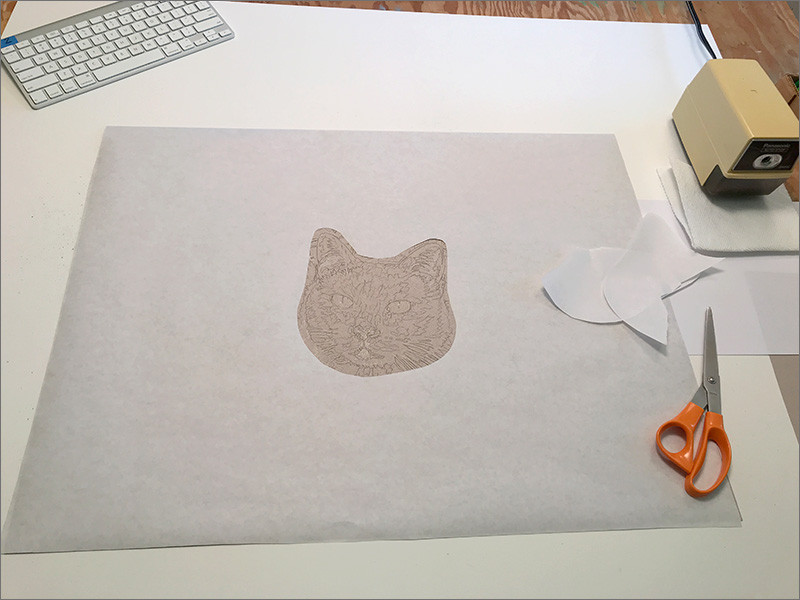 Portrait of Cat in progress, with paper mask cut out