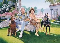Portrait of a man, woman, and Dobermans in a detailed scene at their home