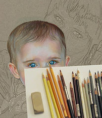 Prismacolor pencil portrait, work in progress, and colored pencils