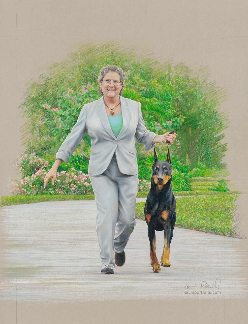 Fine art portrait of professional dog show handler Gwen DeMilta and Doberman Kent, in colored pencil