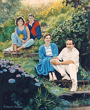 Fine art portrait painting of human family outdoors