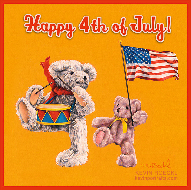 Original pencil drawing of teddy bears marching in a Fourth of July parade with an American flag, by artist Kevin Roeckl