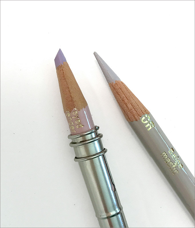 Prismacolor pencil with flattened point next to sharp pencil point