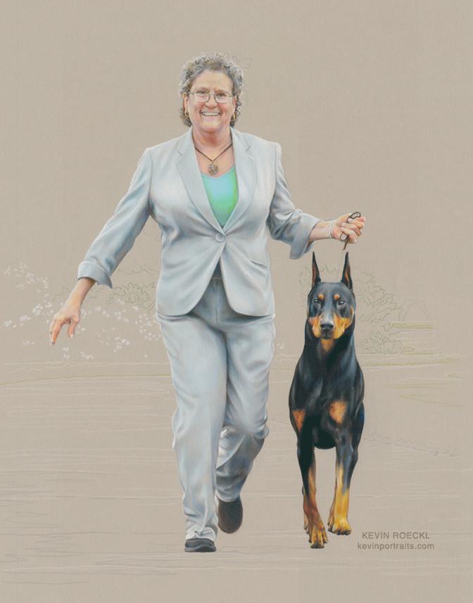 Fine art portrait of dog show handler Gwen and Doberman Kent