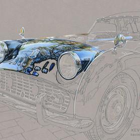 Triumph TR3 portrait in progress 3