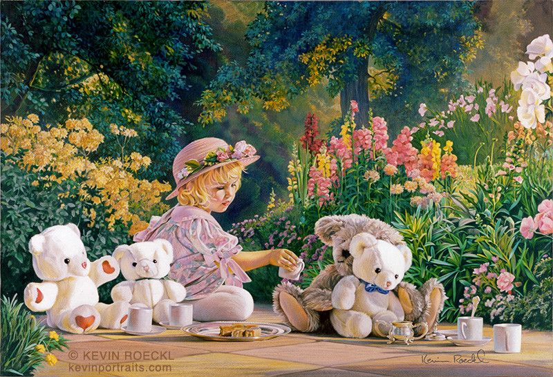 Fine art portrait of a little girl in a flowered hat having a tea party with her teddy bears in a flower garden, by artist Kevin Roeckl