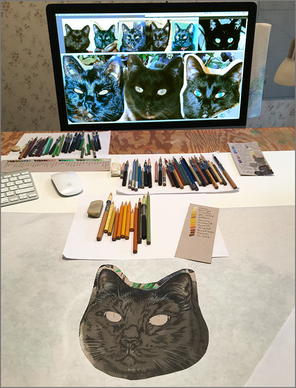 Colored pencil portrait of black cat, in progress in the Kevin Roeckl's art studio