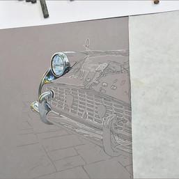 Triumph TR3 portrait in progress 1