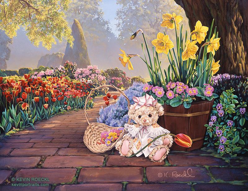 Original artwork of a cute teddy bear with basket of flowers in a springtime flower garden scene, by artist Kevin Roeckl