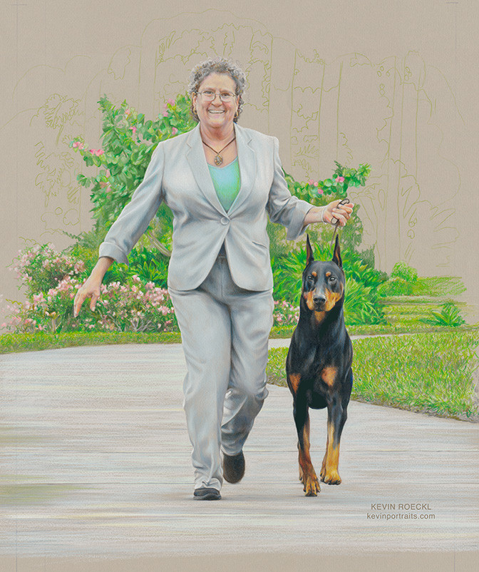 Portrait of dog show handler Gwen and Doberman Kent